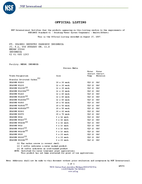 Vitaway沐浴氣認證-NSF椰殼活性碳