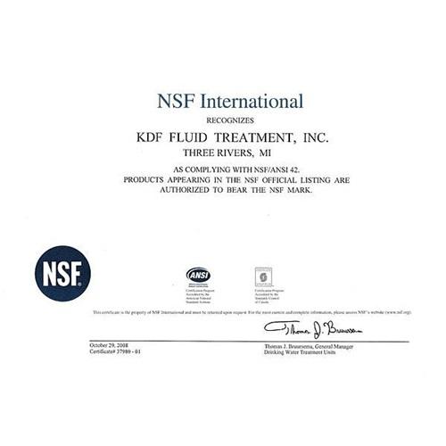 Vitaway沐浴氣認證-NSF42-KDF