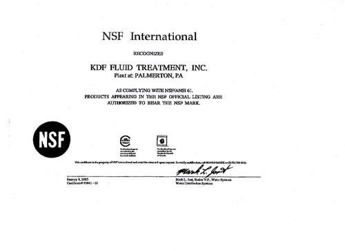 Vitaway沐浴氣認證-NSF61-KDF