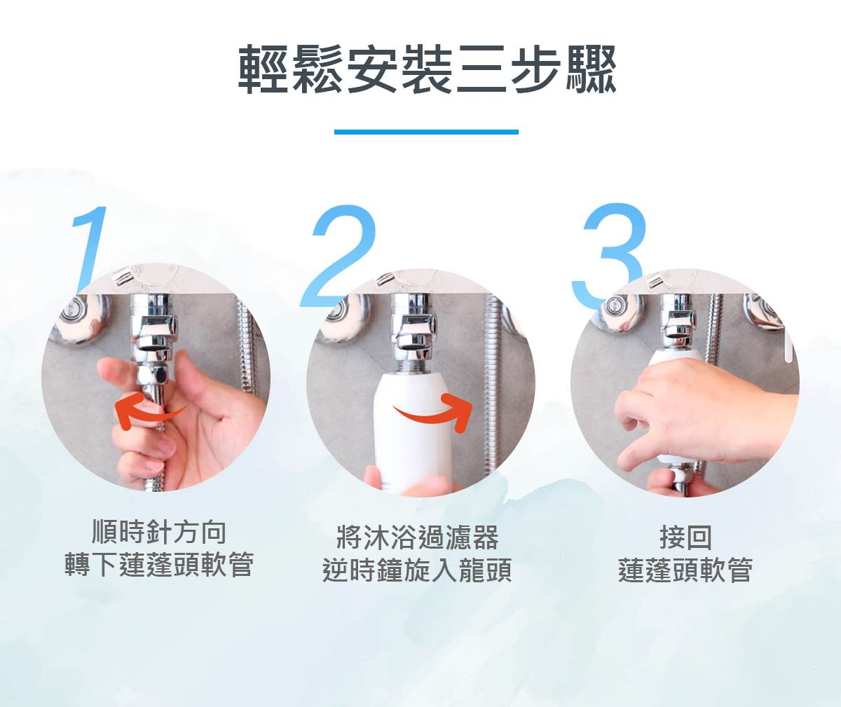 Vitaway-森林SPA沐浴過濾器-08-輕鬆安裝3步驟