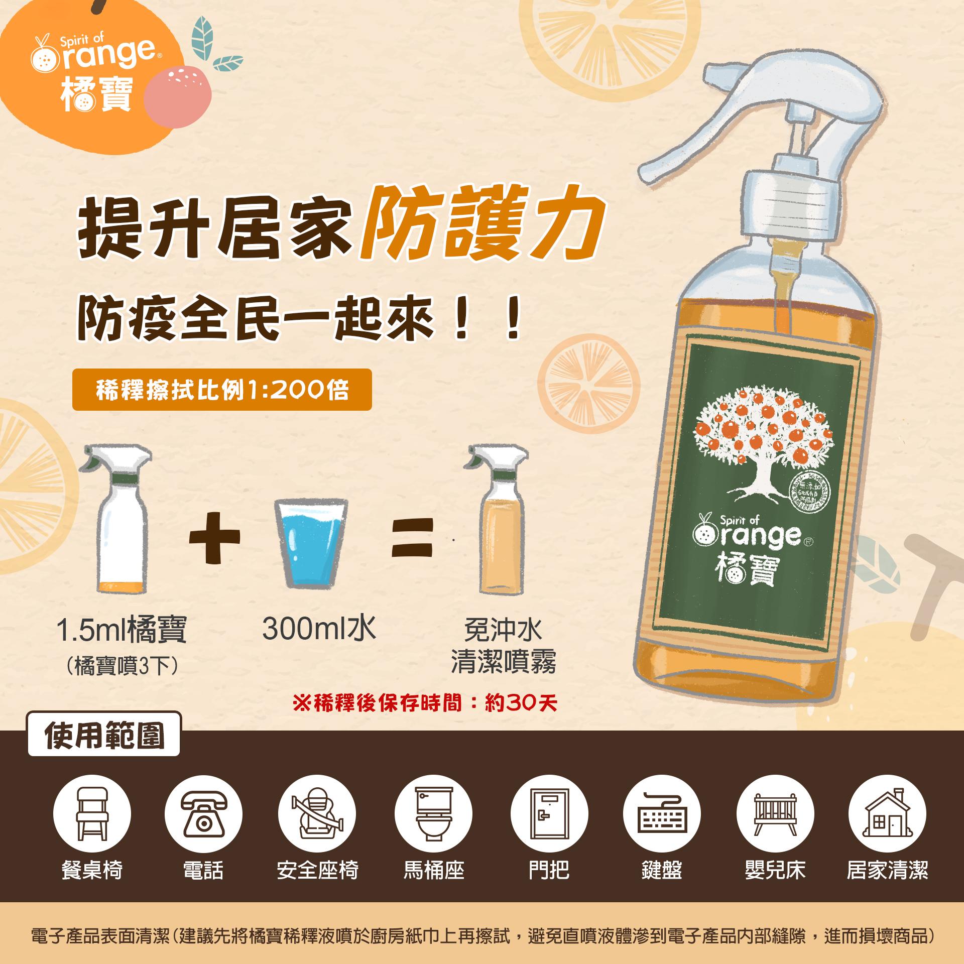 橘寶濃縮洗淨液-DIY擦拭清潔抗菌