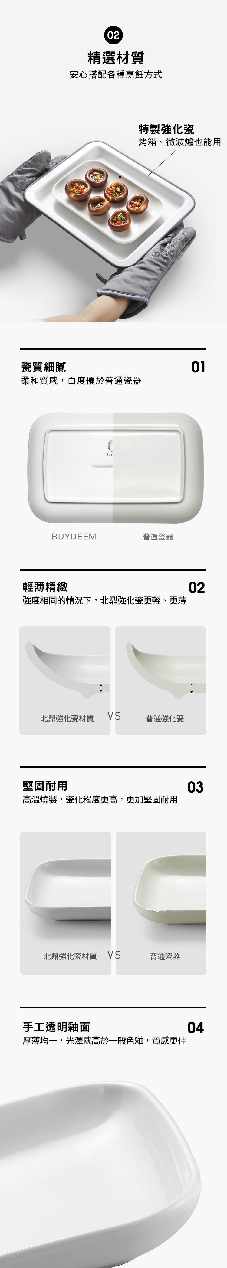 BUYDEEM北鼎方型瓷盤_產品介紹3_多功能蒸燉鍋同款尺寸