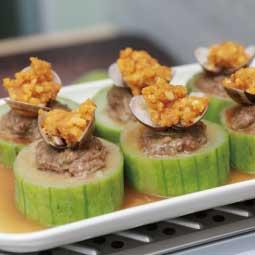 -北鼎多功能蒸燉鍋食譜-電鍋-蒸鍋-金沙絲瓜蛤蜊鑲肉盅